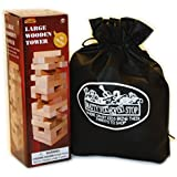 """Large Wooden Tower Deluxe Stacking Game With Exclusive """"Mattys Toy Stop"""" Storage Bag"""