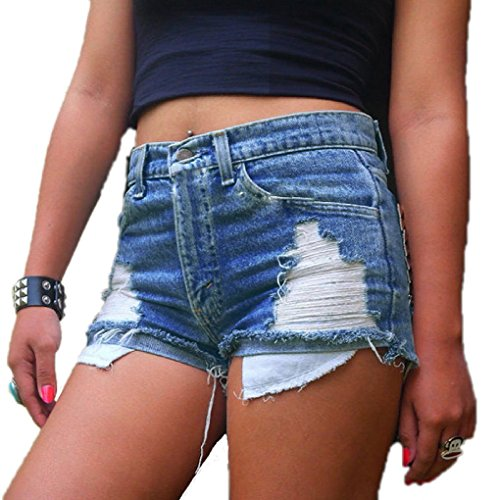 Women's Juniors Distressed Cut Off Ripped Jean Shorts High Waisted Denim Shorts (M, Denim Blue) Denim Cut Off Shorts