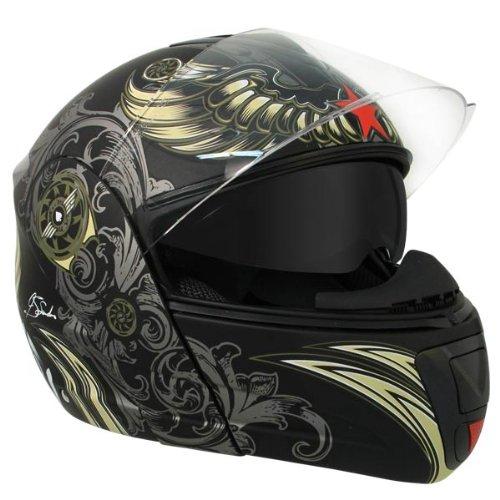 f4cdc8ac Hawk H-6615 Aviator Skull Dual-Visor Modular Motorcycle Helmet with Blinc  Bluetooth -