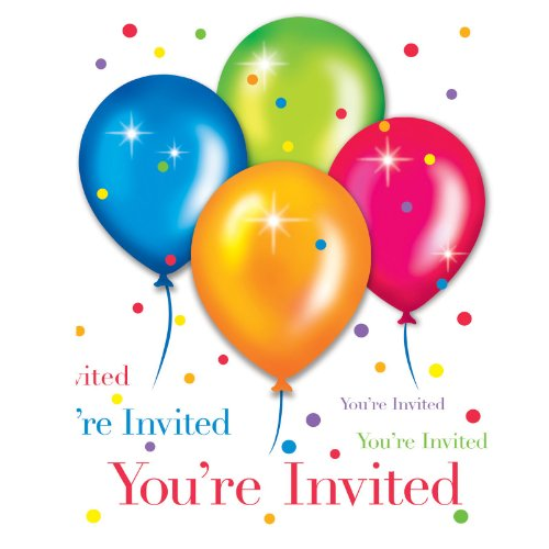 Birthday Balloons Invitations