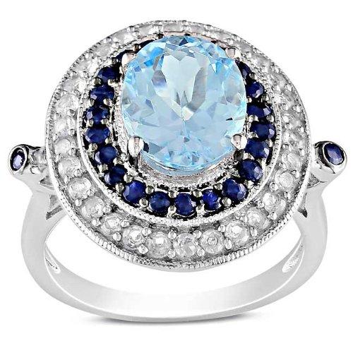 Sterling Silver 5 1/10 CT TGW Multi-gemstones Fashion Ring