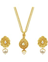 Sukkhi Fine Jalebi Gold Plated Kundan Pendant Set For Women