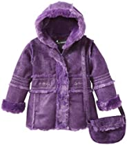 Rothschild Girls 2-6X Tod Sparkle Faux Shearling Coat, Eggplant, 3T