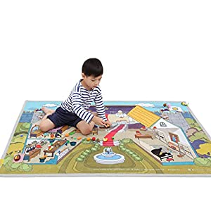 """[LEPAPA] 59.1"""" x 39.4"""" Baby Kids Toddler Le Bonheur Microfiber Secret Castle Petite Play Mat Carpet for Indoor and Outdoor Use, 3D Graphic, Interactive & Complex Play"""