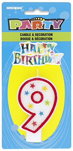 Cake Decoration #9 Glitter Birthday Candle (1ct)