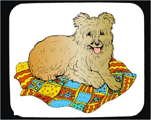 Decorated Mouse Pad with dog, panting, blanket, lying, pet