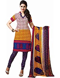 Vineberi Beautiful And Elegant Ustitched Printed Cotton Rich Yellow And Red Salwar Suit Dress Material With Dupatta...