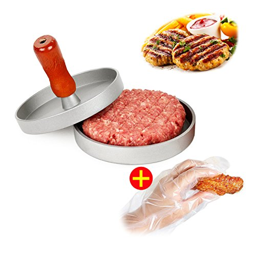 AIDOUT Burger Press - Hamburger Patty Maker - Non Stick Hand Operated Pattie Mold - Professional Aluminum Kitchen Tool with Comfortable Wooden Handle Great for Grill BBQ Homemade Burgers (Machine Burger compare prices)