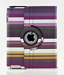 TCD for Apple iPad Mini 1 2 3 with Retina Display LIFETIME WARRANTY Multi Colored [PURPLE] Striped PU Leather Case Cover Stand [360 Degree Rotation] Protection & Kickstand