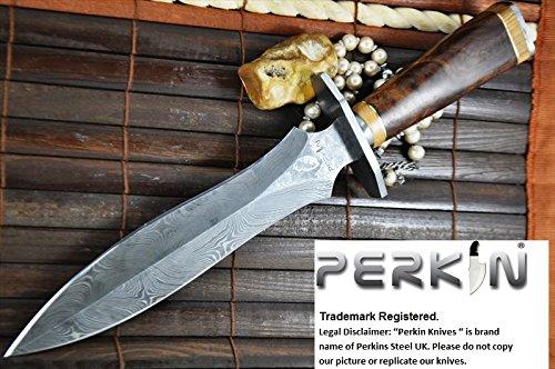 Handmade Damascus Hunting Knife - Double Edge Blade - Beautiful Workmanship - Amazing Value