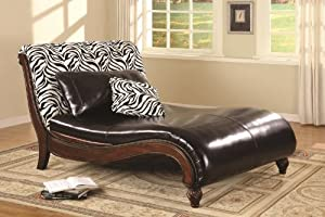Black Zebra Pattern Back Chaise Lounge Chair with Accent Pillows in 100% Dark Brown Bonded Leather