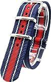 [2PiS] ( クアドラプルネイビー・ダブルホワイト(細線)・センターレッド : 20mm ) NATO 腕時計ベルト ナイロン 替えバンド ストラップ 交換マニュアル付 111-1-20