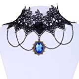 Yazilind Jewelry Lace Collar Necklace Gothic Lolita Blue Glaring Crystal Rose Tassel Chain Sexy Noble Length:12in