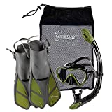 Seavenger Adult Diving Snorkel Set- Dry Top Snorkel / Trek Fin / Single Len Mask / Gear Bag- Blue/red/yellow/black/bs (Gray/Black Silicon/Green, L/XL - Size 9 to 13)
