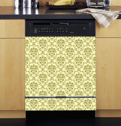 Grip Promotions 10244 Damask Appliance Art- Cream and Green- Small