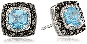 Sterling Silver Blue Topaz with Black and White Diamond Earrings