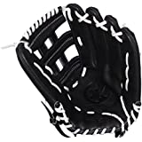 Miken KO Series Slowpitch Throw Fielding Gloves, 13.5-Inch, Black, Left Hand(Right Hand Throw), 13.5-Inch/Black
