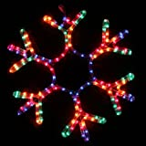 Large Flashing Multi Colour Snowflake Rope Lights Silhouette Outdoor Garden Wall Christmas Decoration - Size 50cm