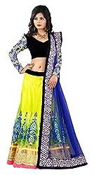 Devikrupa fashion Women's Net Unstitched Lehenga Choli (Yellow)