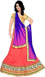 Jay Ambe Creation Women's Viscose Dress Material(dno139c_Blue & Pink_Free Size)