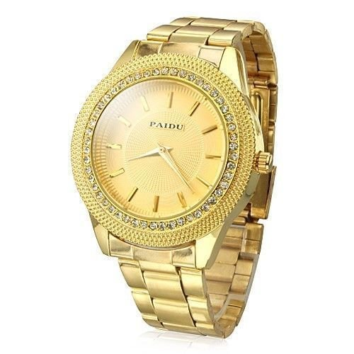 Mens Gold Watches Diamond Dial Gold Steel Analog Quartz Wrist Watch image