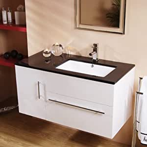 Creative Bathroom Cabinet In White With High Gloss Front Width 37cm Height