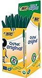 Bic Cristal Stylo à bille pointe moyenne Corps plastique transparent à capuchon Encre Vert Lot de 50