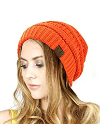 Trendy Warm Chunky Soft Stretch Cable Knit Slouchy Beanie Skully HAT20A (Bright Orange)