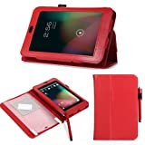 ATC Slim Glossy Leather Cover Case for Google Nexus 7 Android Tablet by Asus (Red) with Free Screen Protector & Stylus