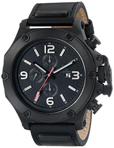 Joshua & Sons Men's 48mm Black Calfskin Stainless Steel Case Quartz Watch JS75BK