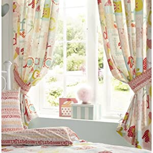 Abc alphabet fish lady bird kids luxury fully lined for Childrens curtains uk