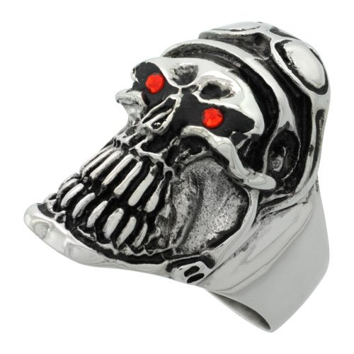 Surgical Steel Biker Ring Biker Skull Helmet Goggles Red CZ Eyes 1 1/4 inch long, size 10