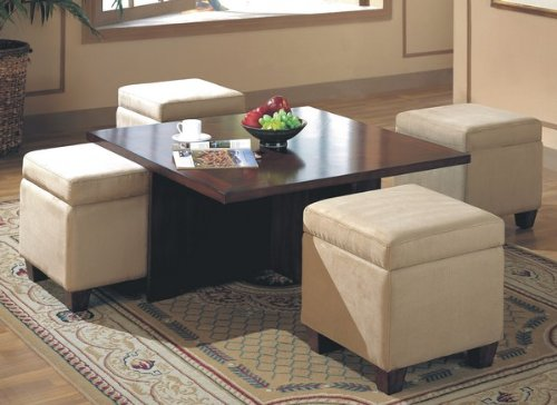 Buy Low Price Contemporary Dark Mahogany Finish Coffee Table With 4 Storage Ottomans Coas700006