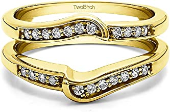 Silver Knott Chevron Ring Guard with Diamonds 075 ct twt