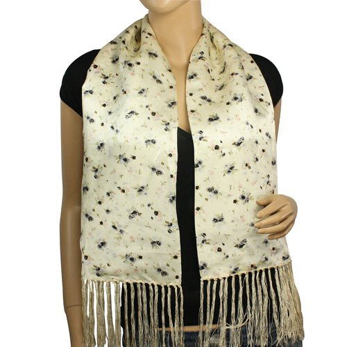100% Silk Satin Charmeuse Double Layer Ink Painting Small Flower Tassels Ends Long Scarf - Cream