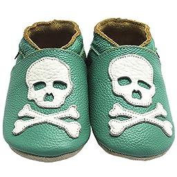 Mejale Baby Boy Shoes Soft Soled Leather Moccasins Skull Infant Toddler Pre-walker(18-24 months,green)