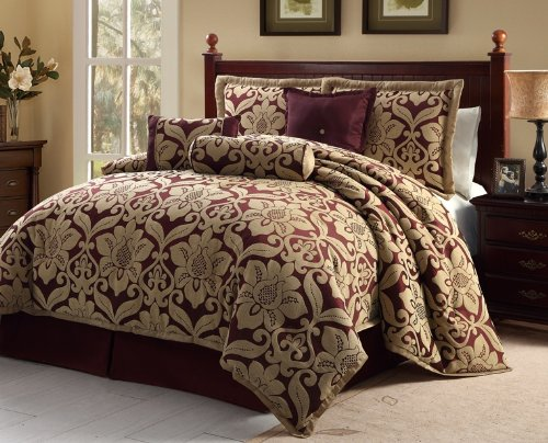 Victoria Classics Galloway Comforter Set, Queen, Red/Gold, 7-Piece front-10986