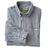 Country Twill Long-sleeved Shirt , Navy Check, Large