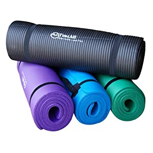 Premium 1/2-Inch Extra Thick w/ 68 x 24-Inch High Density Durable Close-foam Tech. Exercise Yoga Mat w/ Carry Strap - Best Quality - Lowest Promotional Price (Black or Blue) by Yes4All