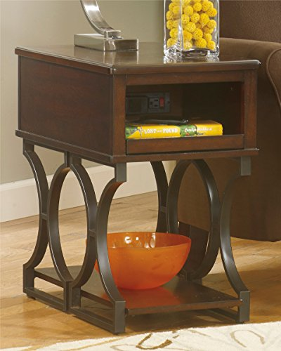 Ashley Furniture Signature Design Chairside End Tables Chair Side End Table, Bronze Metal Color front-860515