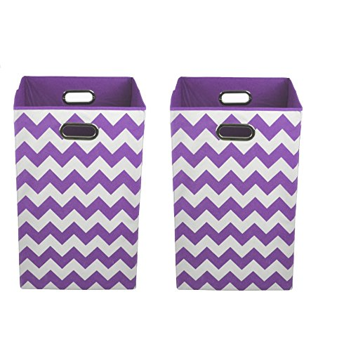Modern Littles Organization Bundle Laundry Bins, Color Pop Purple Chevron, 2 Count