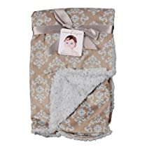 Blankets and Beyond Lovely Decorated Damask Printed Blanket Neutral