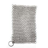 Premium Kitchen Cast Iron Cleaner Chainmail Scrubber Xl 8x6 Inch Stainless Steel Heavy Duty Cleaner Dutch Oven, Cast Iron Skillet Cookware Natural Handcrafted Free Bonus Ebook & Dry Cloth & Hook