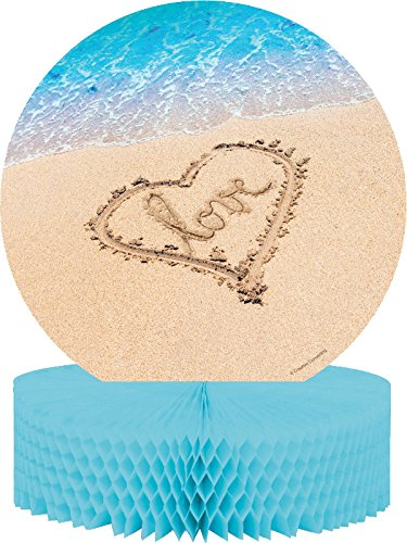 Creative Converting Beach Love Centerpiece with Honeycomb and Glitter, Blue/Brown - 1