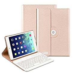 Coo iPad Air 1 2 Bluetooth Keyboard Case with 360 Degree Rotation & Stand Holder(Champagne)