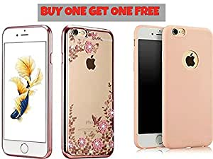 FONOVO BUY ONE GET ONE FREE!! iPhone 7 Plus - Shockproof Silicone Soft TPU Transparent Auora Flower Case with Sparkle Swarovski Crystals for iPhone 7 Plus Back Cover With Baby Pink Silicon Cover Absolutely Free!!