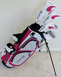"""Womens Complete Golf Set Custom Made for Petite Ladies 5'0""""-5'5"""" Tall Taylor Fit Driver, Wood, Hybrid, Irons, Putter, Bag Graphite Lady Shafts Beautiful White with Pink Color Accents by Performance Golf 4 Women"""