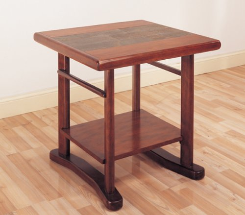Hillsdale Frankfort Square Slate Top End Table in Medium Brown