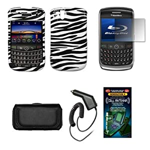 Blackberry Tour 9630 Black Leather Carrying Pouch+ Zebra Skin Design Snap-on Hard Case Cover+ Premuim LCD Screen Protetor+Rapid Car Charger+ Antenna Booster Combo For Blackberry Tour 9630