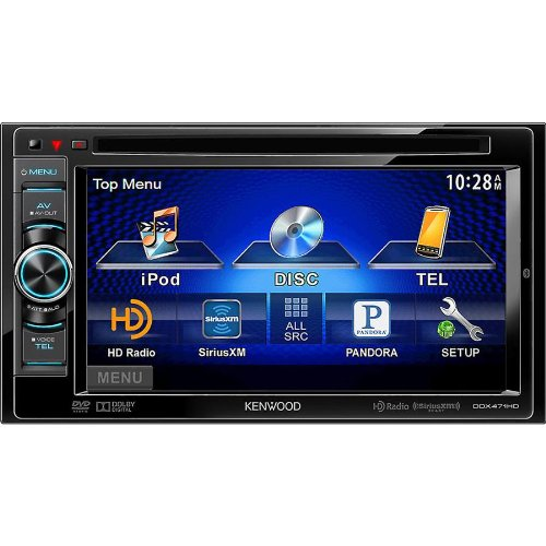 """Kenwood In-Dash Double-Din 6.1"""" Lcd Touchscreen Dvd/Mp3/Usb Car Stereo Receiver W/ Bluetooth Wireless Capabilities, And Hd Radio Tuner, Usb Port, Built-In Ipod, Iphone, And Ipad Control, Pandora Radio Link With Iphone And Android, And Siriusxm Radio Ready"""